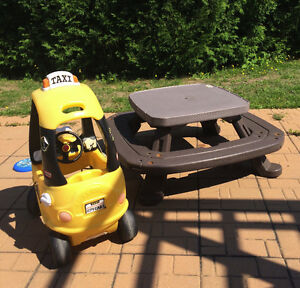 Picnic table and mini toddler car