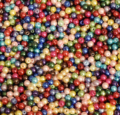 6mm Glass Pearl Round Bead, 2 Pounds BULK (Hole: -