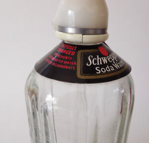Vintage SCHWEPPES Etched Glass Seltzer Bottle with Collar