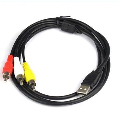 Cable alargador USB A 3 RCA macho conversor de Audio Estéreo AV...