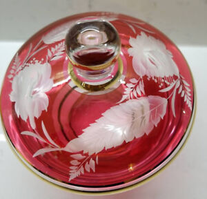 Vintage Bohemian Ruby Red Cranberry Gold Gilt Lidded Candy Dish