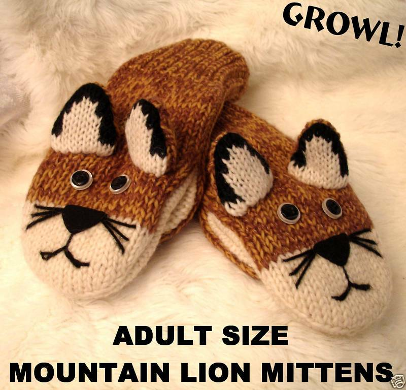 MOUNTAIN LION MITTENS cougar FLC LINED puppet ADULT puma animal mens women glove