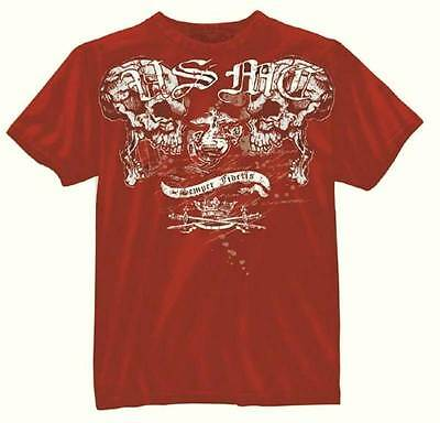 US Marine Corps Raging Skulls Tattoo T-shirt USMC Skull Semper Fidelis RED - Marine Corps Tattoos