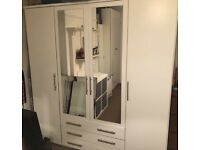 Vancouver 4 door 3 drawer mirrored wardrobe (used but in good condition)