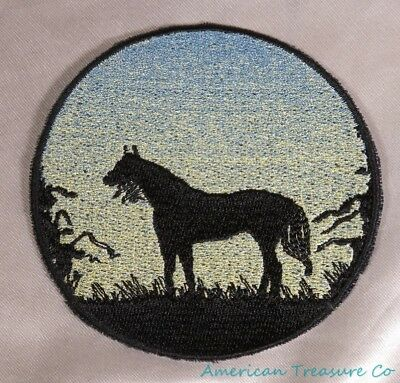 Embroidered Horse Pony Sunrise Silhouette Ombre Circle Patch Iron On Sew On USA ()