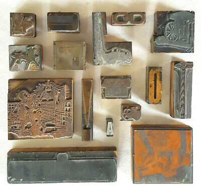 Antique Printing Press Blocks-wood Metal-old Advertising-steam Punk-lot Of 16
