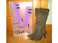 Gorgeous Pair of Ladies Knee High Khaki Suede Boots - UK 5 Perfect Condition Cost £35 so Bargain