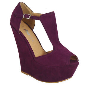 NEW WOMENS LADIES FAUX SUEDE PLATFORM PEEPTOE HIGH WEDGE SHOES SIZES 3 4 5 6 7 8