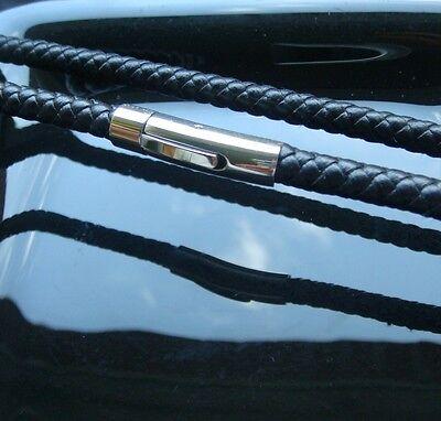 Schwarze Leder Kette 5 mm 55 cm geflochtene Lederkette