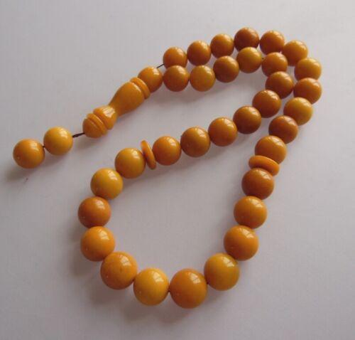 Old Baltic Amber Pressed Prayer beads komboloi tasbih masbaha Rosary Necklace
