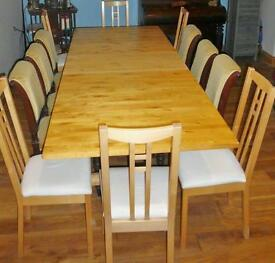 Large solid wood table and 6 chairs seats up to 12 extended!
