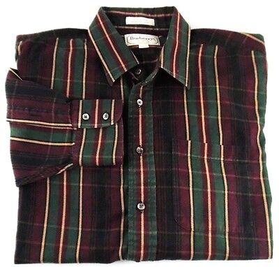 Burberrys of London Burgundy Plaid Long Sleeve Button Up Casual Shirt Sz LG