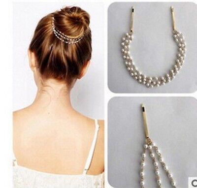 Women Girl Metal Pearl Chain Jewelry Hair bun decor band fashion wedding F026
