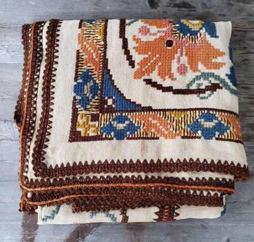 Rare Antique Arts and Crafts Handwoven Patchwork Throw