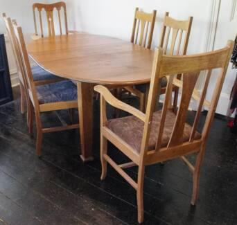 1920's Oak Dining Table and Chairs