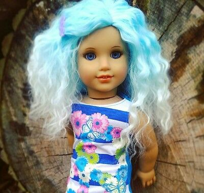 CLEARANCE! OOAK Custom Doll Wig for American Girl dolls in Blue Skies