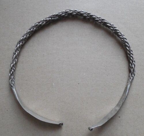 Viking period silver neck torc decoration with symbols and signs