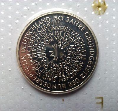 """10 DM Silbergedenkmünze """"50 Jahre Grundgesetz""""  in Noppenfolie 1999 """"F"""" PP"""""""