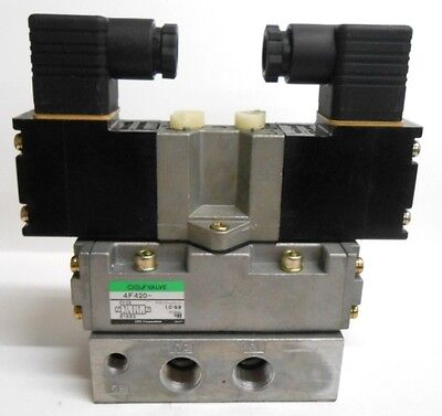 Ckd Pilot Operated Spool Valve 4f420-10 2 Position Double Solenoid 100200vac