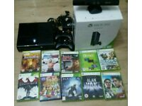 Xbox 360 console with 10 games and connect complete in box