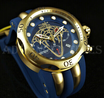 Invicta 52mm BLUE Venom Viper Chronograph 18k Gold Plated SS Case Silicone Watch