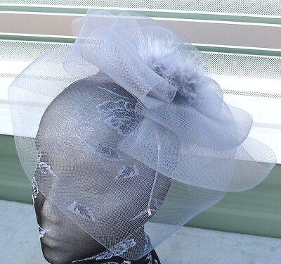 grey feather fascinator millinery burlesque headband wedding hat race ascot 1