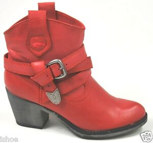 WOMENS ROCKET DOG SATIRE LEATHER LOOK COWBOY WESTERN HEEL ANKLE BOOTS SIZE 3-8