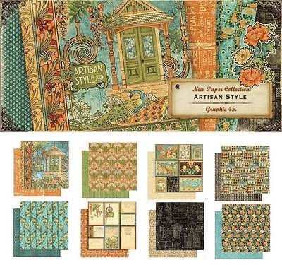 Detailed 45 ARTISAN STYLE 8 Sheets 12x12 Paper Collection Home Mixed Media