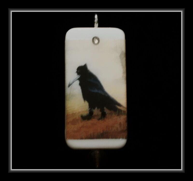 OLD CROW IN BOOTS POSTER - DOMINO PENDANT WITH MATCHING BOX