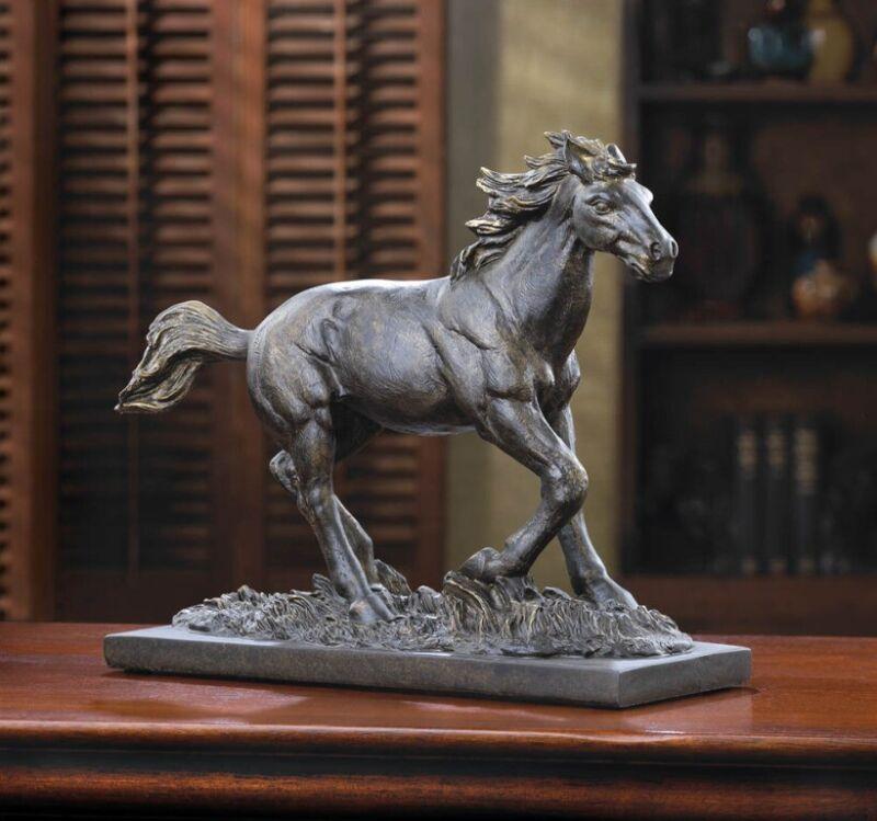 Bronze Color Wild Stallion Horse Statue Figurine