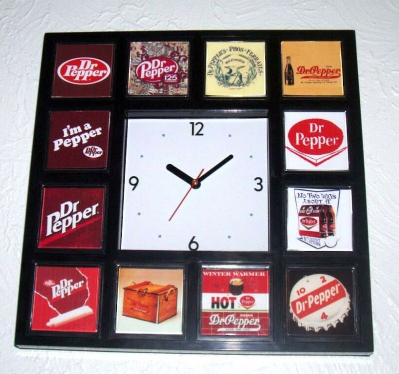 History of Dr. Pepper Clock with 12 pictures
