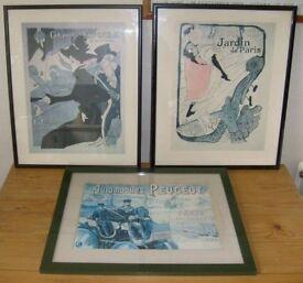 3 Framed Print Toulouse Lautrec Jane Avril, Divan Japonais, Peugot Automobiles