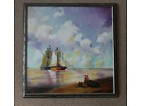 """Oil paint on canvas picture of the """"Sailing Boats"""" by Fadli professionally framed . House clearance"""