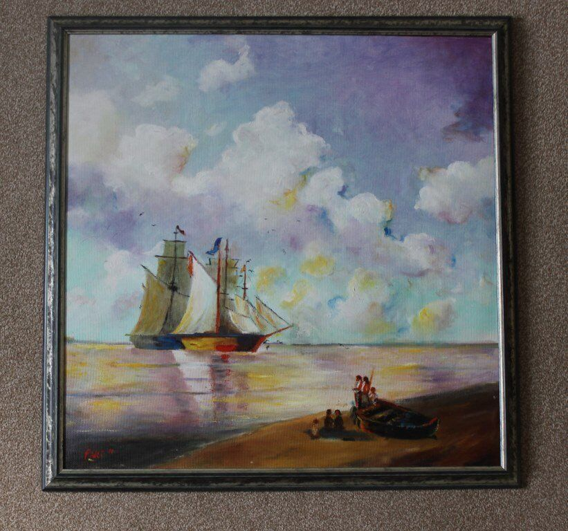 """Oil paint on canvas picture of the """"Sailing Boats"""" by Fadli professionally framed. House Clearance!"""