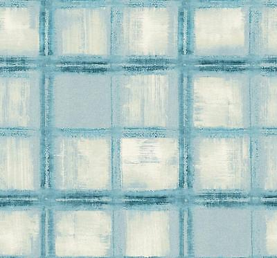 Wallpaper Designer Large Blue on Cream Watercolor Plaid