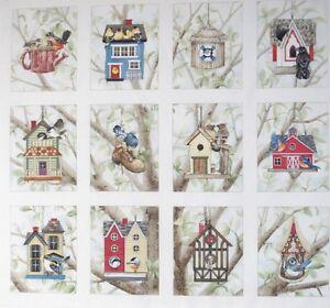 Birdhouse Fabric 12 Quilt Block Panel Beautiful Bird Chickadee Waxwing Cardinal