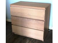 Chest of drawers in lime washed oak effect.