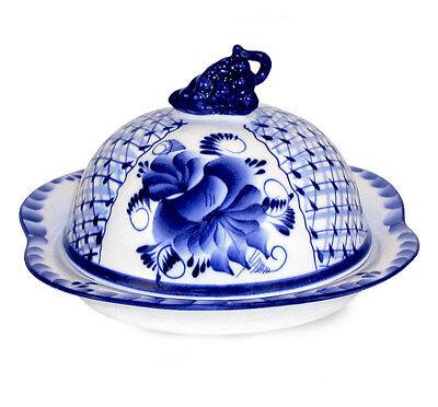 Gzhel Porcelain Butter Serving Dish w/ Blue Flowers. Authentic, Signed (Blue Serving Dish)