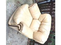 Leather armchair, beige