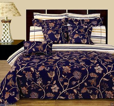 11 Peice Ultra Soft Lilian Duvet Cover & Sheet Set Reversible Bed in a Bag Set Cotton Bed Bag