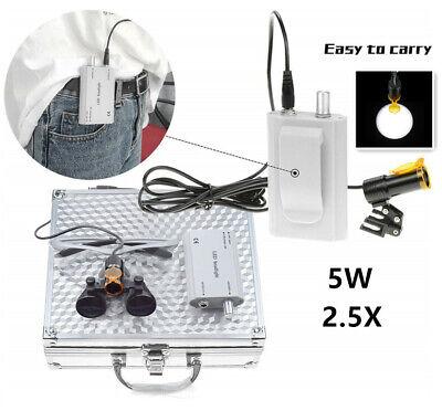 Dental 2.5x Binocular Loupes 5w Led Head Light Filter Belt Clip Box Silver