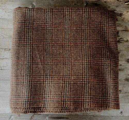 "Vintage Brown Wool Plaid Suiting Fabric - 130"" x 62"""