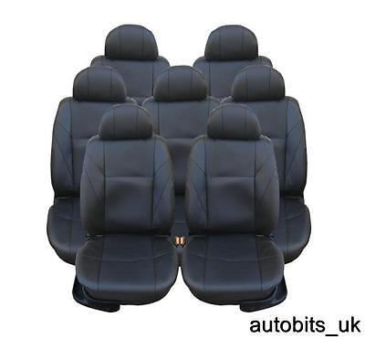 FULL SET BLACK LEATHER 7X SEAT COVERS FOR 7 SEATER CAR MPV (1998 Mazda Mpv Van)