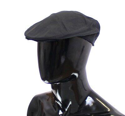 NEW $240 DOLCE & GABBANA Hat Black Cotton Logo Newsboy Cap Cabbie s. 59 / L