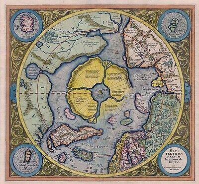 Septentrionalium Terrarum Farbe Nordpol Arctic Landkarte Poster Gerard Mercator