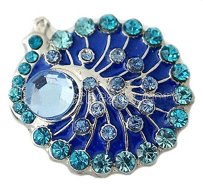 Teal Blue Rhinestones Peacock  Bird 18mm Snap Button Charm For Ginger Snaps
