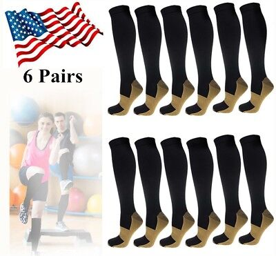 6 Pairs Copper Compression Socks 20-30mmHg Graduated Support Mens Womens S-XXL