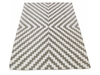 Hand-dyed Geometric Rug (Grey) Large 160cm x 230cm