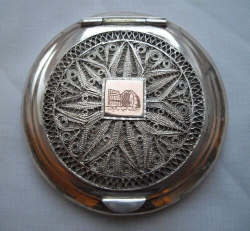 Sterling Solid Silver Filigree Gold Islamic Middle Eastern Compact Mirror Box