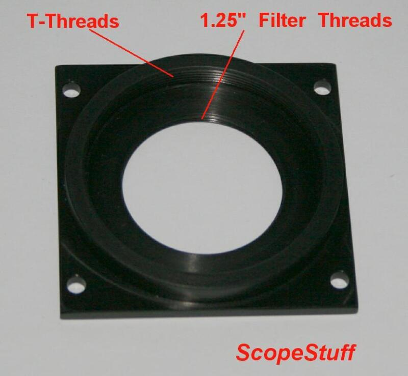 """Adapter Plate for Meade DSI cameras, Low Profile with T-threads & 1.25"""" threads"""
